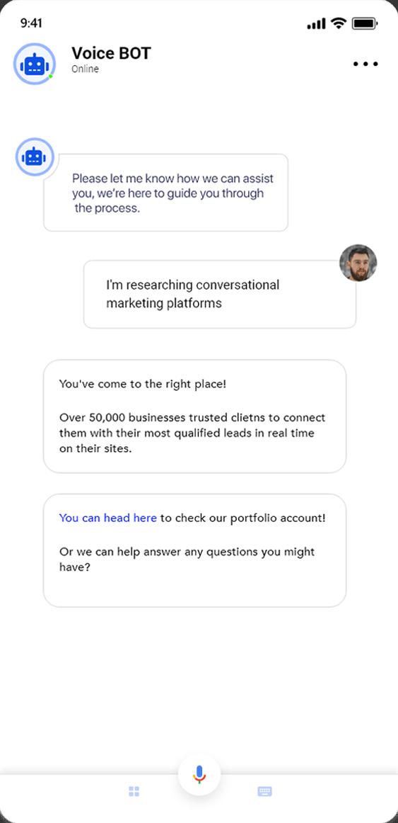 Voice bot app screenshot